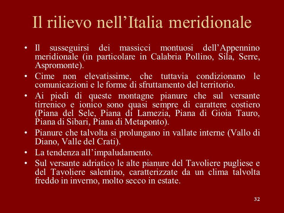 32 Il rilievo nellItalia meridionale Il susseguirsi dei massicci montuosi dellAppennino meridionale (in particolare in Calabria Pollino, Sila, Serre,