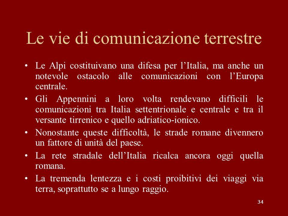 34 Le vie di comunicazione terrestre Le Alpi costituivano una difesa per lItalia, ma anche un notevole ostacolo alle comunicazioni con lEuropa central