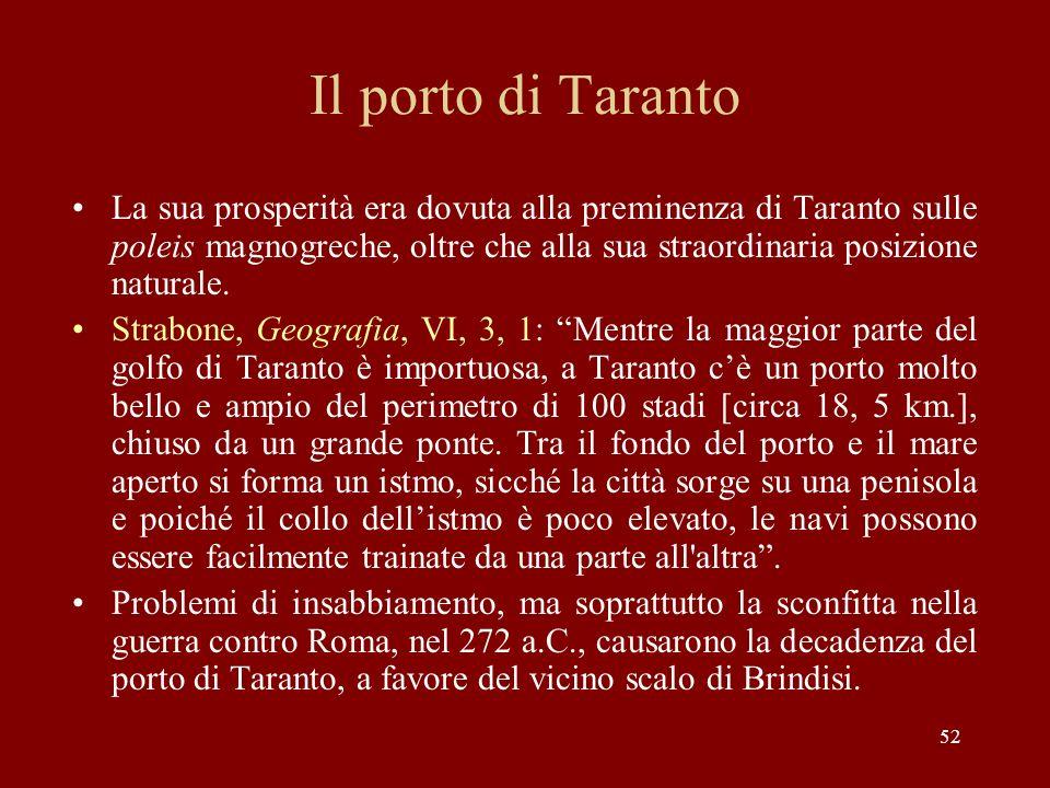 52 Il porto di Taranto La sua prosperità era dovuta alla preminenza di Taranto sulle poleis magnogreche, oltre che alla sua straordinaria posizione na