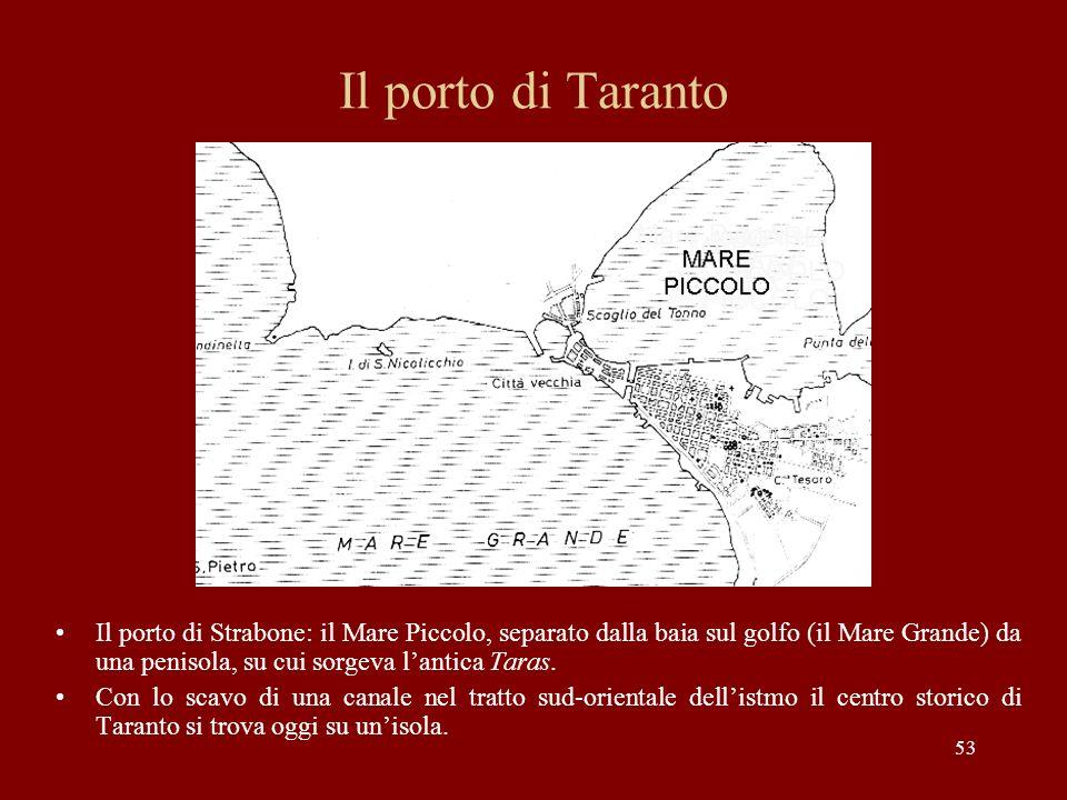 53 Il porto di Taranto Il porto di Strabone: il Mare Piccolo, separato dalla baia sul golfo (il Mare Grande) da una penisola, su cui sorgeva lantica T