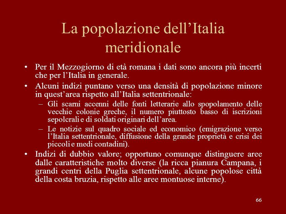 La popolazione dellItalia meridionale Per il Mezzogiorno di età romana i dati sono ancora più incerti che per lItalia in generale. Alcuni indizi punta
