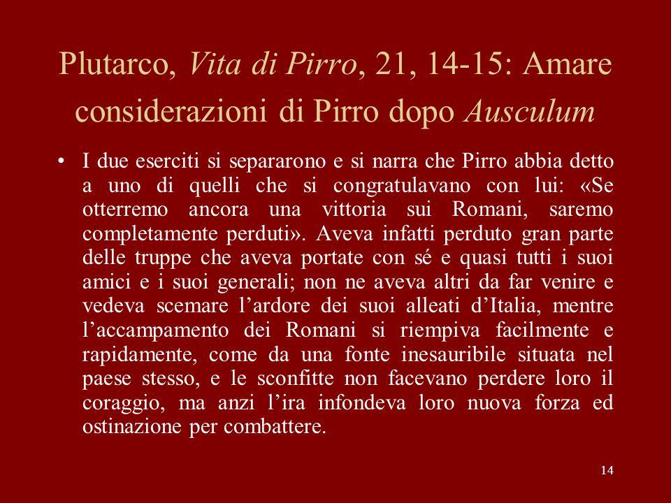 14 Plutarco, Vita di Pirro, 21, 14-15: Amare considerazioni di Pirro dopo Ausculum I due eserciti si separarono e si narra che Pirro abbia detto a uno