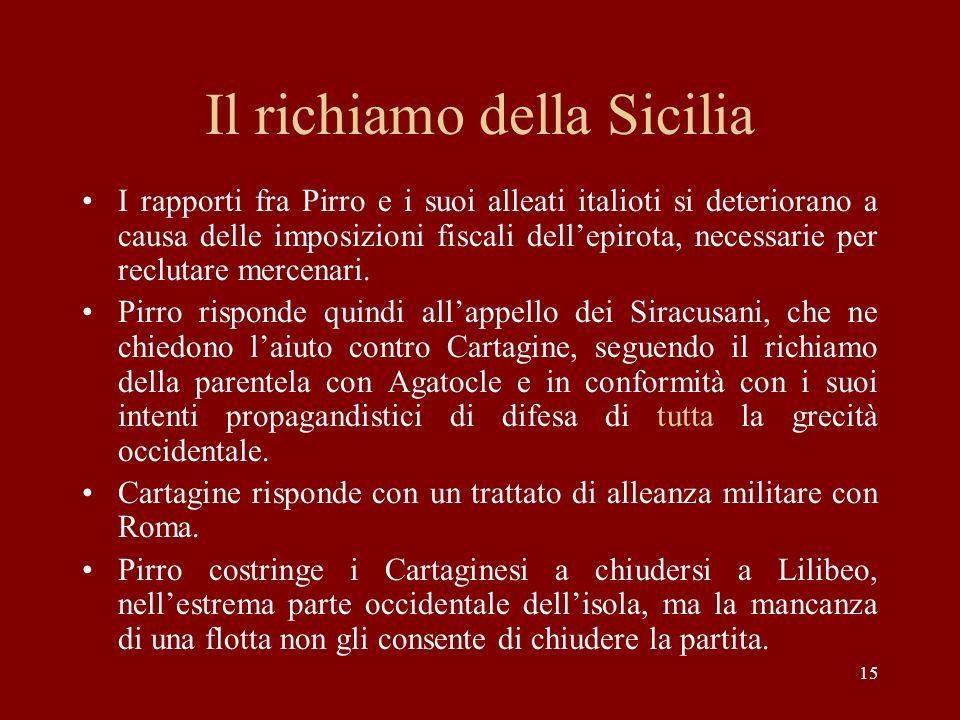 15 Il richiamo della Sicilia I rapporti fra Pirro e i suoi alleati italioti si deteriorano a causa delle imposizioni fiscali dellepirota, necessarie p