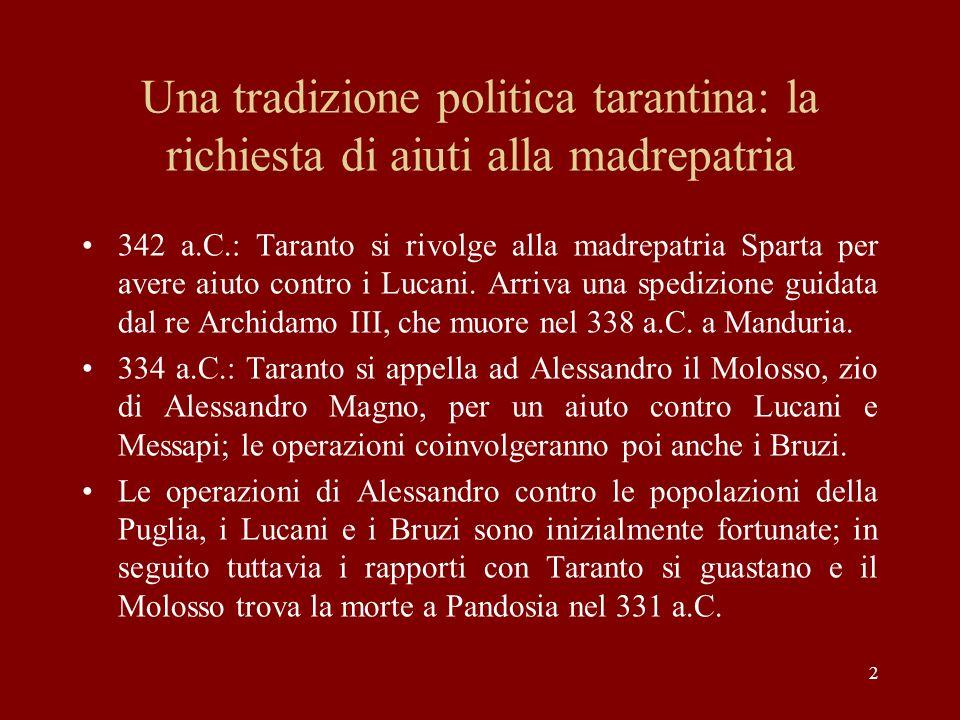 2 Una tradizione politica tarantina: la richiesta di aiuti alla madrepatria 342 a.C.: Taranto si rivolge alla madrepatria Sparta per avere aiuto contr