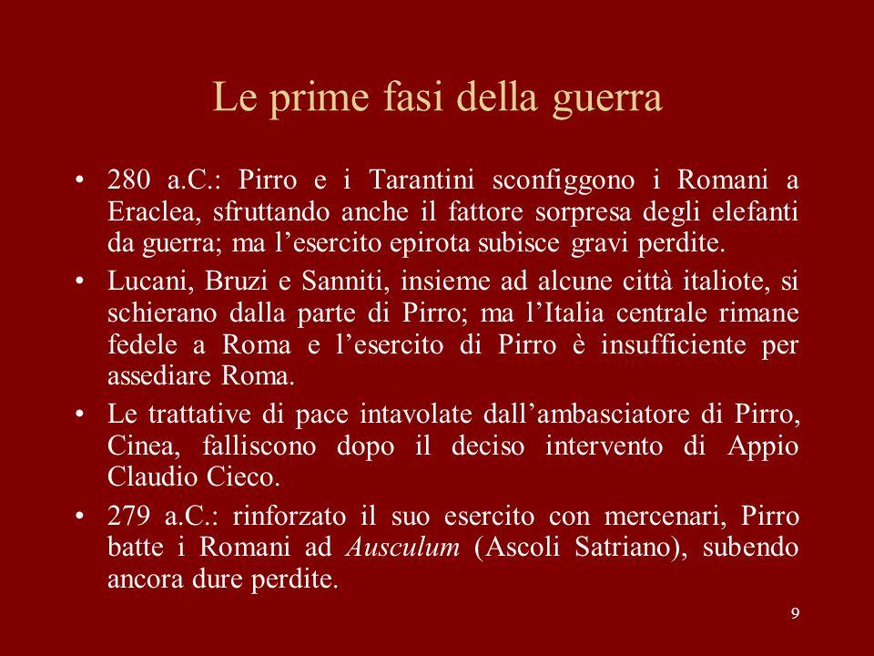 9 Le prime fasi della guerra 280 a.C.: Pirro e i Tarantini sconfiggono i Romani a Eraclea, sfruttando anche il fattore sorpresa degli elefanti da guer