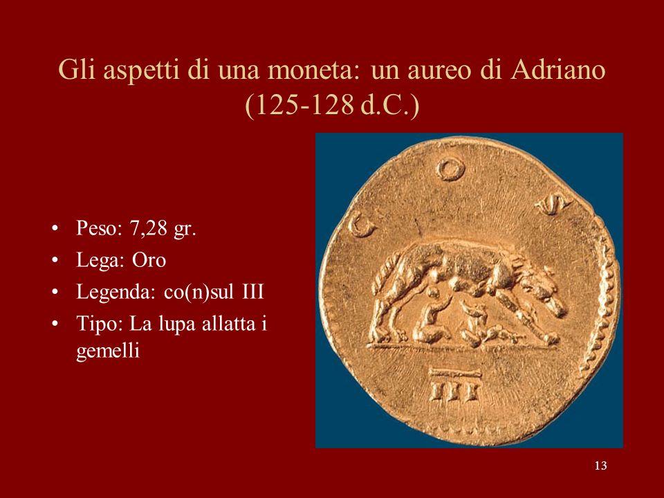 13 Gli aspetti di una moneta: un aureo di Adriano (125-128 d.C.) Peso: 7,28 gr. Lega: Oro Legenda: co(n)sul III Tipo: La lupa allatta i gemelli