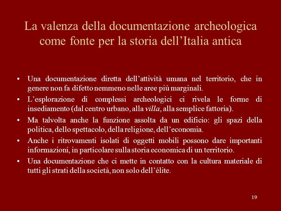 19 La valenza della documentazione archeologica come fonte per la storia dellItalia antica Una documentazione diretta dellattività umana nel territori