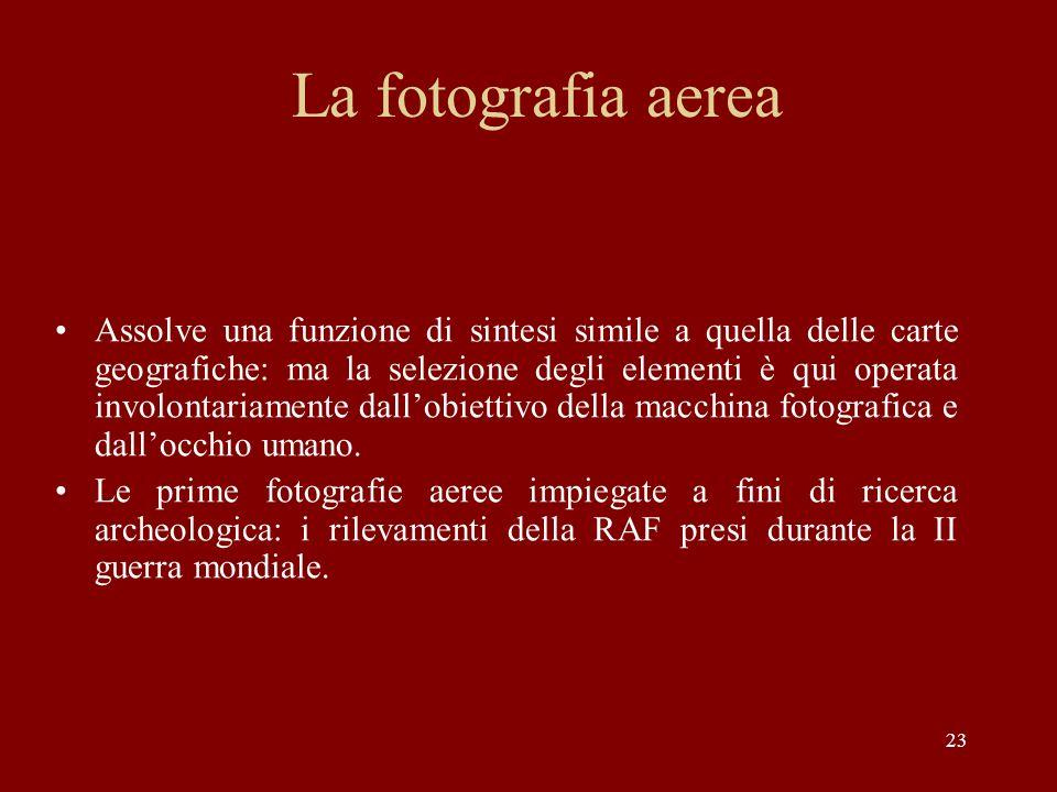 23 La fotografia aerea Assolve una funzione di sintesi simile a quella delle carte geografiche: ma la selezione degli elementi è qui operata involonta