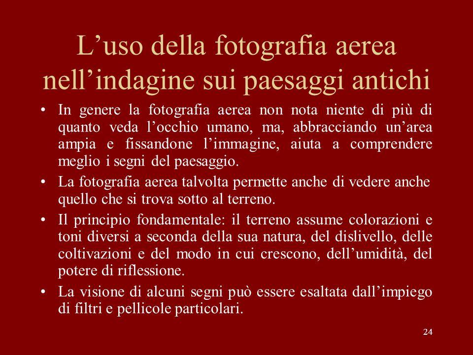24 Luso della fotografia aerea nellindagine sui paesaggi antichi In genere la fotografia aerea non nota niente di più di quanto veda locchio umano, ma