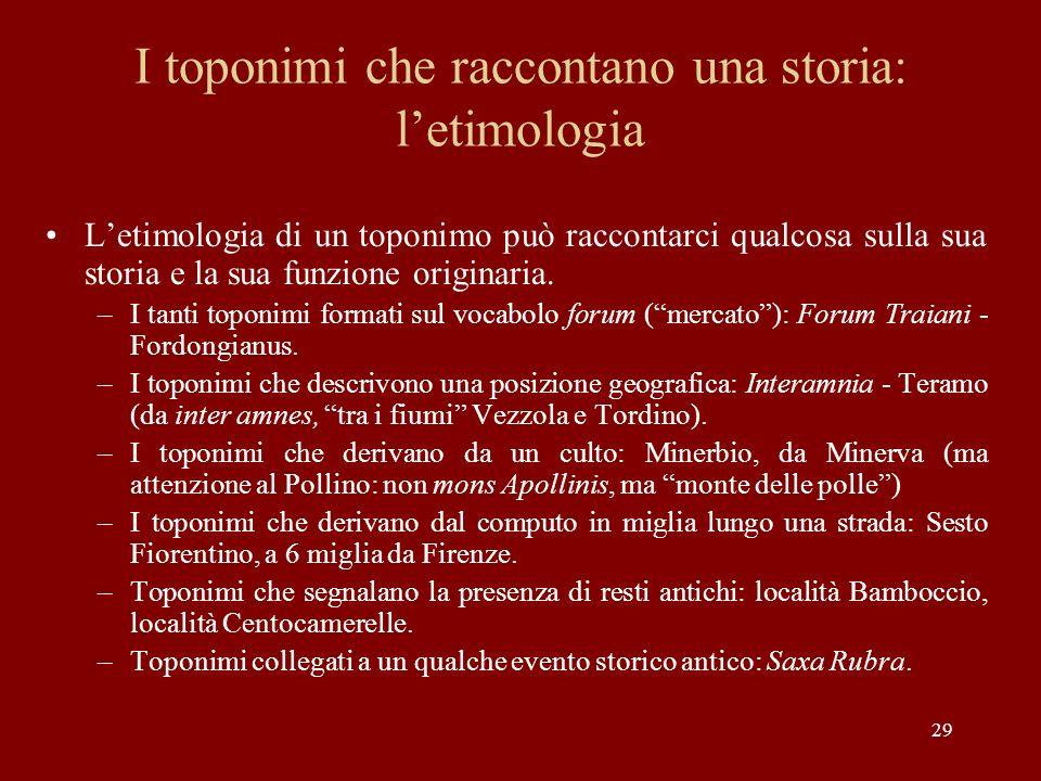 29 I toponimi che raccontano una storia: letimologia Letimologia di un toponimo può raccontarci qualcosa sulla sua storia e la sua funzione originaria