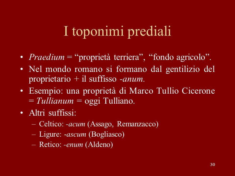 30 I toponimi prediali Praedium = proprietà terriera, fondo agricolo. Nel mondo romano si formano dal gentilizio del proprietario + il suffisso -anum.