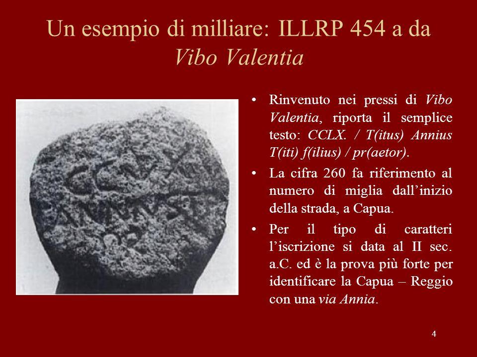 Un esempio di milliare: ILLRP 454 a da Vibo Valentia Rinvenuto nei pressi di Vibo Valentia, riporta il semplice testo: CCLX. / T(itus) Annius T(iti) f