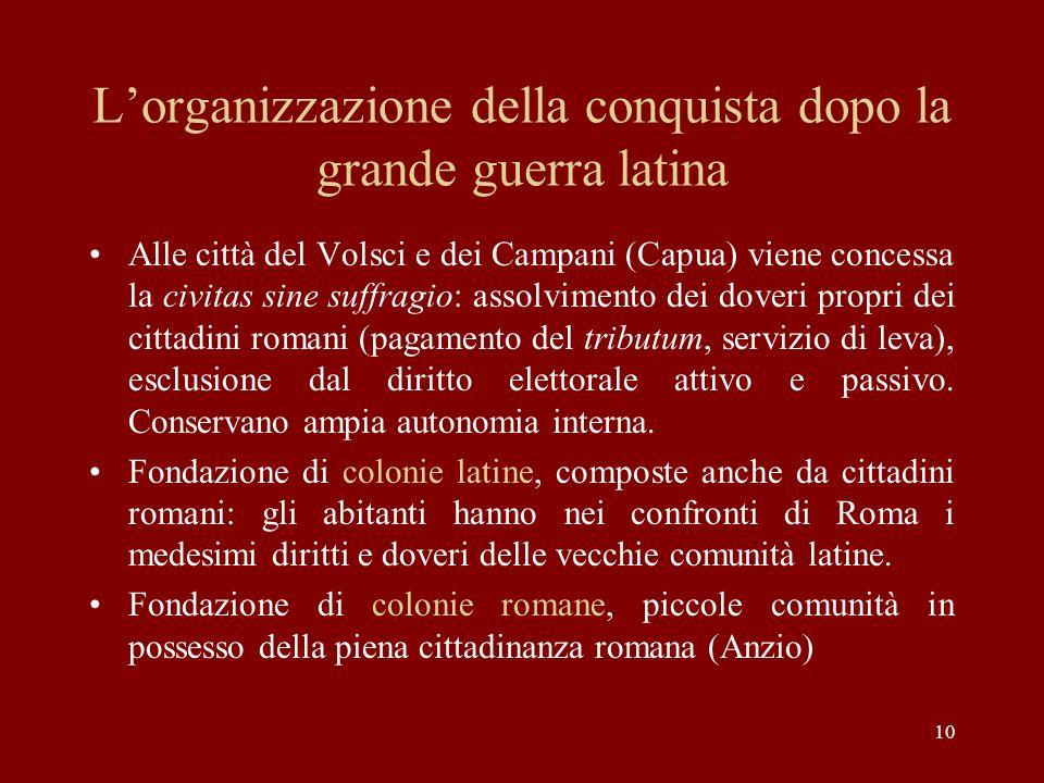 10 Lorganizzazione della conquista dopo la grande guerra latina Alle città del Volsci e dei Campani (Capua) viene concessa la civitas sine suffragio: