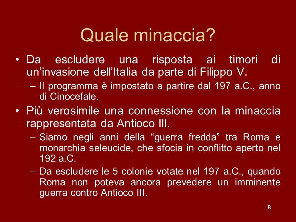 9 Il piano di Annibale Un piano di invasione dellItalia che potrebbe giustificare la risposta di Roma.