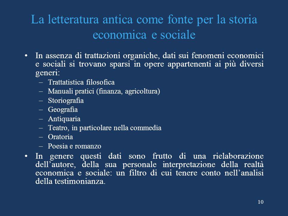 10 La letteratura antica come fonte per la storia economica e sociale In assenza di trattazioni organiche, dati sui fenomeni economici e sociali si tr