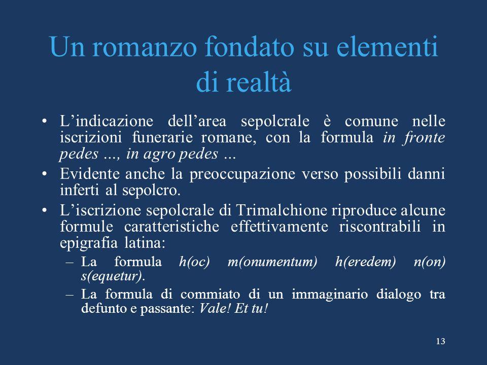 Un romanzo fondato su elementi di realtà Lindicazione dellarea sepolcrale è comune nelle iscrizioni funerarie romane, con la formula in fronte pedes …
