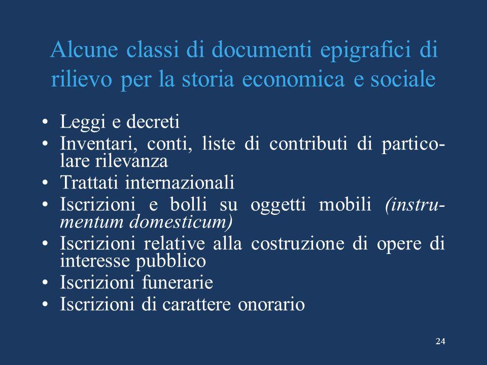 24 Alcune classi di documenti epigrafici di rilievo per la storia economica e sociale Leggi e decreti Inventari, conti, liste di contributi di partico