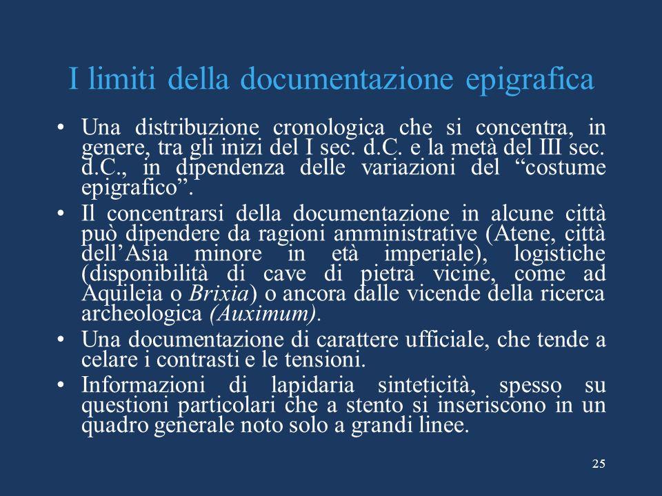 25 I limiti della documentazione epigrafica Una distribuzione cronologica che si concentra, in genere, tra gli inizi del I sec. d.C. e la metà del III