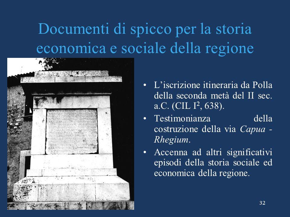 Documenti di spicco per la storia economica e sociale della regione Liscrizione itineraria da Polla della seconda metà del II sec. a.C. (CIL I 2, 638)