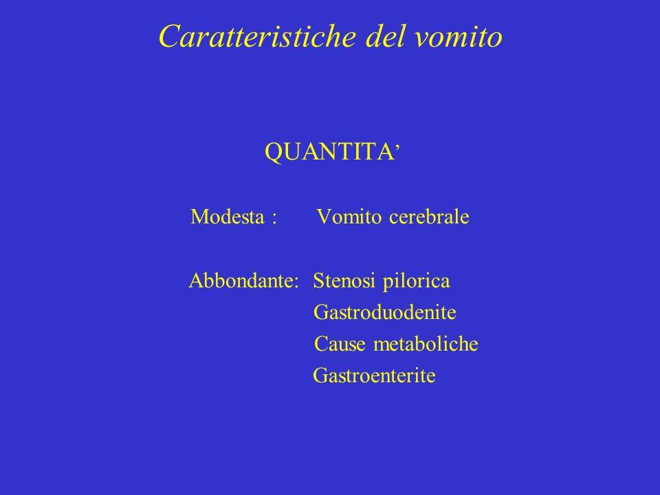 Caratteristiche del vomito QUANTITA Modesta : Vomito cerebrale Abbondante: Stenosi pilorica Gastroduodenite Cause metaboliche Gastroenterite