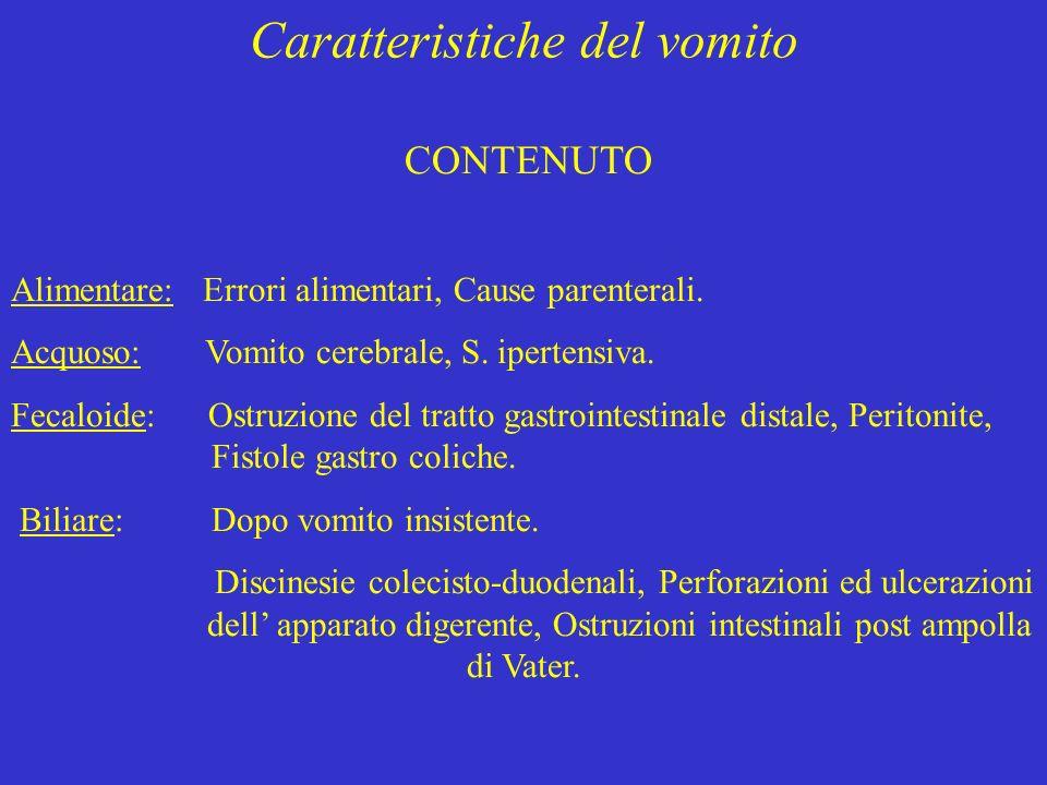 Caratteristiche del vomito CONTENUTO Alimentare: Errori alimentari, Cause parenterali. Acquoso: Vomito cerebrale, S. ipertensiva. Fecaloide: Ostruzion