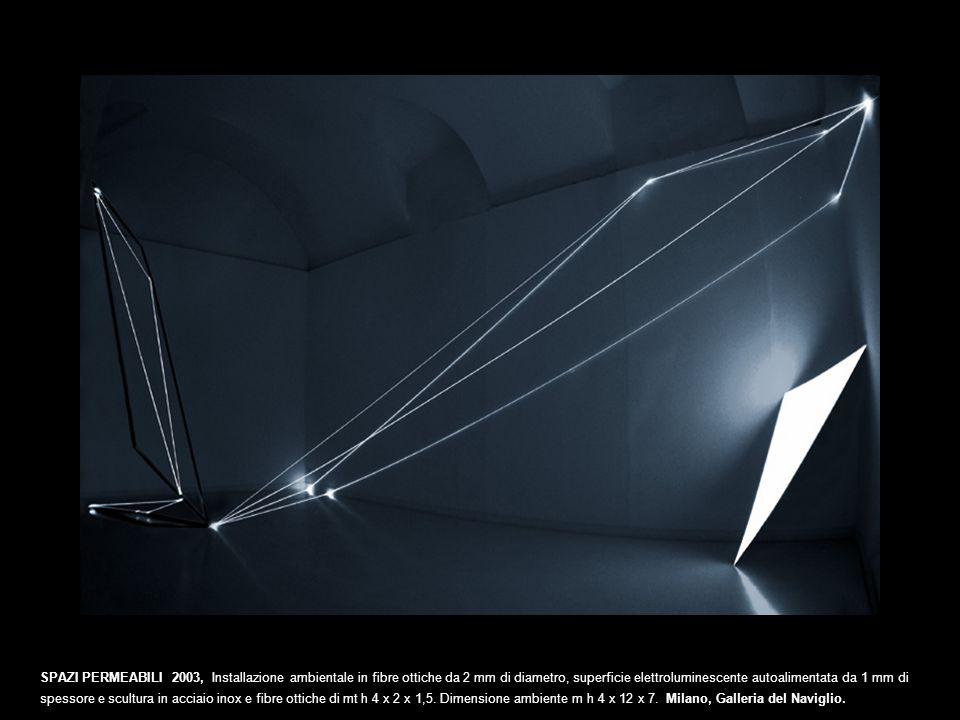 SPAZI PERMEABILI 2003, Installazione ambientale in fibre ottiche da 2 mm di diametro, superficie elettroluminescente autoalimentata da 1 mm di spessor
