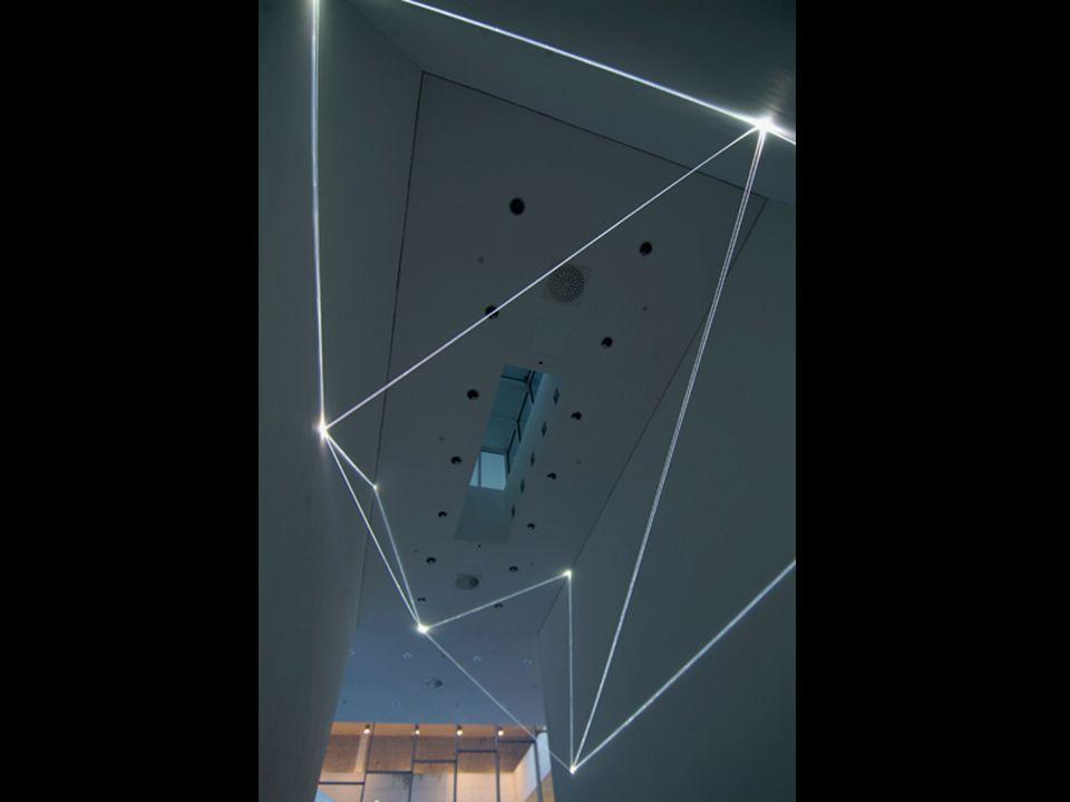 CARLO BERNARDINI, CODICE PROGRESSIVO DELLO SPAZIO 2009, Fibre ottiche e superficie elettroluminescente, mt h 3,60x10x7,5.