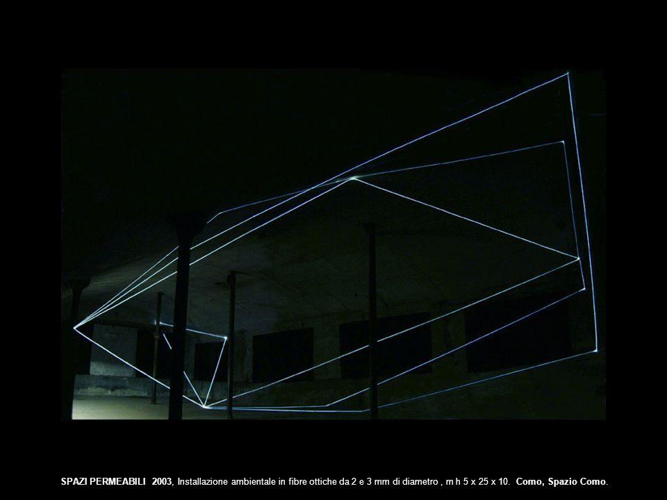 SPAZI PERMEABILI 2003, Installazione ambientale in fibre ottiche da 2 e 3 mm di diametro, m h 5 x 25 x 10. Como, Spazio Como.