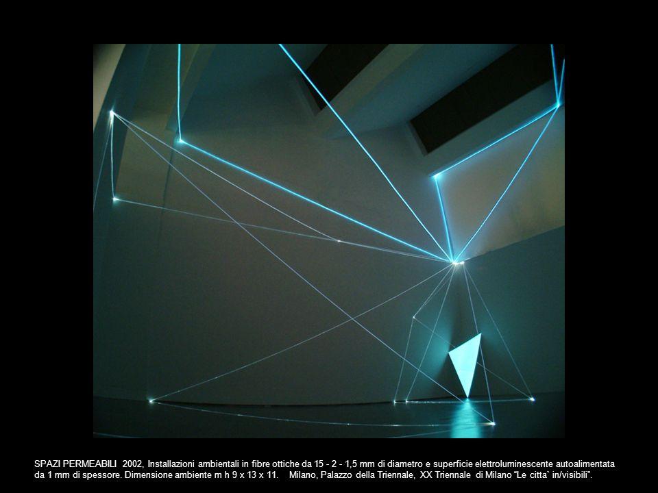 SPAZI PERMEABILI 2002, Installazioni ambientali in fibre ottiche da 15 - 2 - 1,5 mm di diametro e superficie elettroluminescente autoalimentata da 1 m