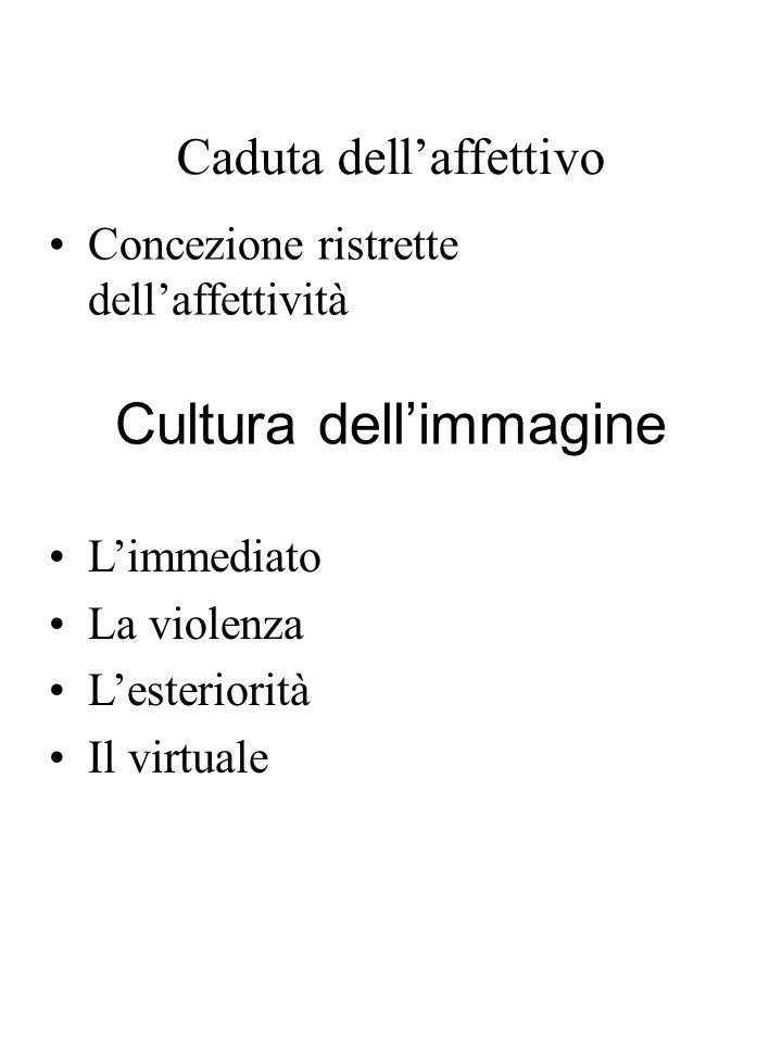 Caduta dellaffettivo Concezione ristrette dellaffettività Cultura dellimmagine Limmediato La violenza Lesteriorità Il virtuale