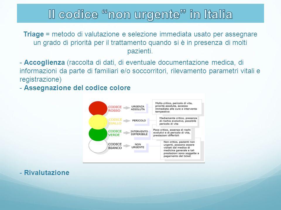 Triage = metodo di valutazione e selezione immediata usato per assegnare un grado di priorità per il trattamento quando si è in presenza di molti pazi