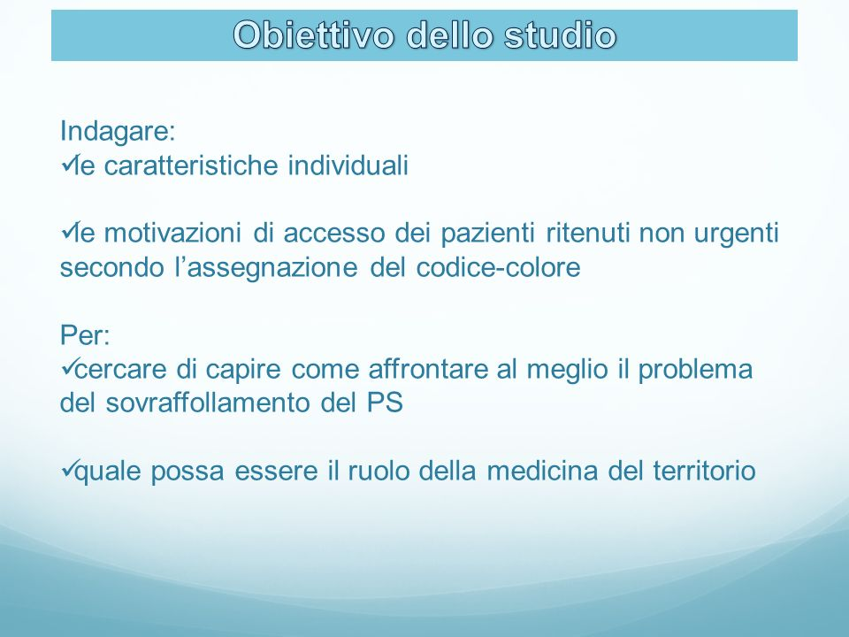 Indagare: le caratteristiche individuali le motivazioni di accesso dei pazienti ritenuti non urgenti secondo lassegnazione del codice-colore Per: cerc