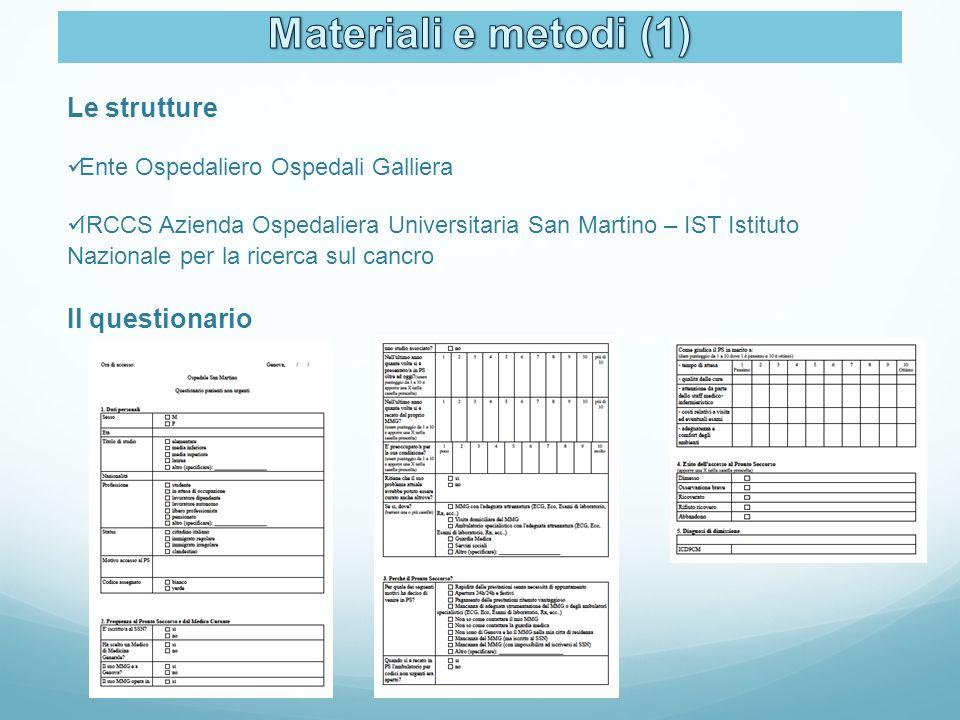 Le strutture Ente Ospedaliero Ospedali Galliera IRCCS Azienda Ospedaliera Universitaria San Martino – IST Istituto Nazionale per la ricerca sul cancro