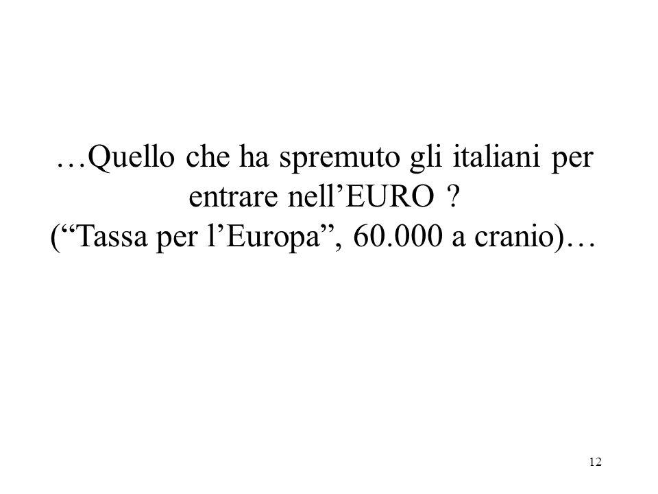 12 …Quello che ha spremuto gli italiani per entrare nellEURO ? (Tassa per lEuropa, 60.000 a cranio)…