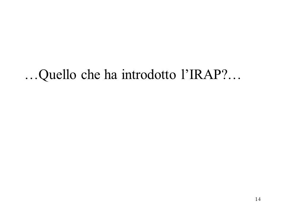14 …Quello che ha introdotto lIRAP?…