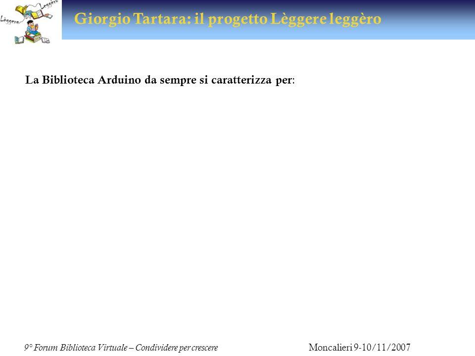 9° Forum Biblioteca Virtuale – Condividere per crescere Moncalieri 9-10/11/2007 Giorgio Tartara: il progetto Lèggere leggèro Ultimo nato Progetto Lèggere leggèro Articolato in due modalità informative: in presenza: sportello di ascolto online: il sito dedicato