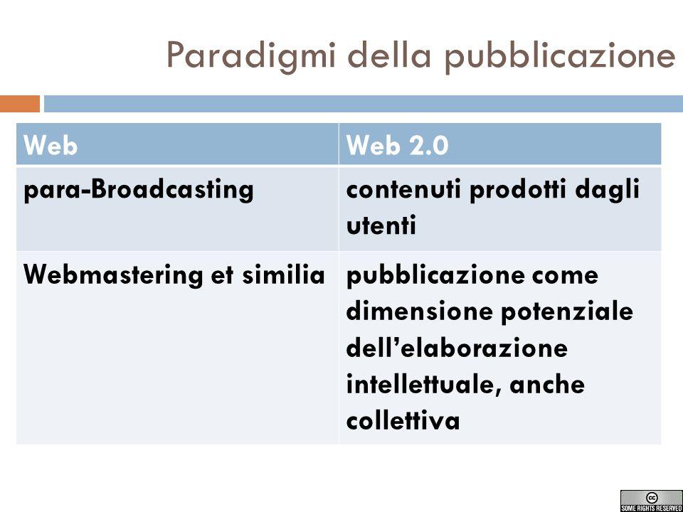 Paradigmi della pubblicazione WebWeb 2.0 para-Broadcastingcontenuti prodotti dagli utenti Webmastering et similiapubblicazione come dimensione potenziale dellelaborazione intellettuale, anche collettiva