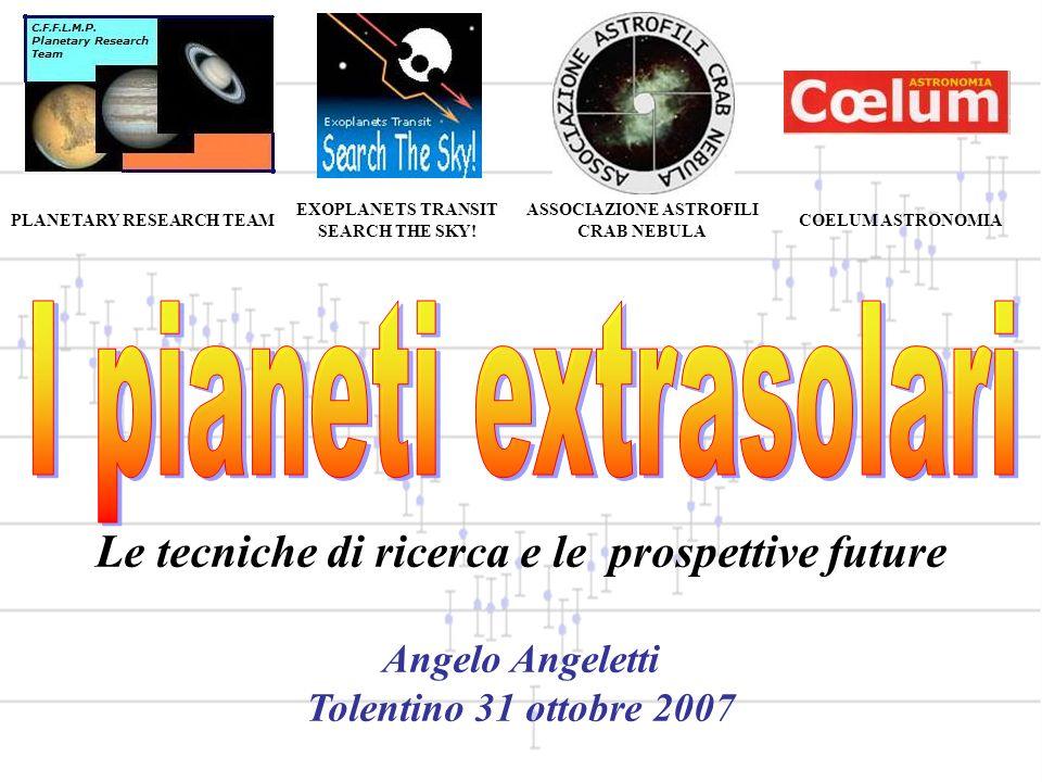 PLANETARY RESEARCH TEAM EXOPLANETS TRANSIT SEARCH THE SKY! ASSOCIAZIONE ASTROFILI CRAB NEBULA COELUM ASTRONOMIA Le tecniche di ricerca e le prospettiv