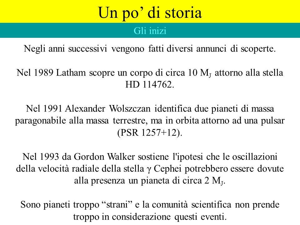 Un po di storia Negli anni successivi vengono fatti diversi annunci di scoperte. Nel 1989 Latham scopre un corpo di circa 10 M J attorno alla stella H