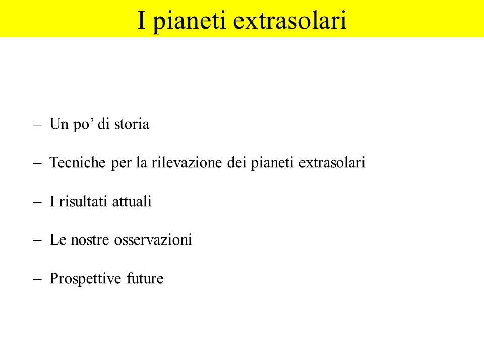 – Un po di storia – Tecniche per la rilevazione dei pianeti extrasolari – I risultati attuali – Le nostre osservazioni – Prospettive future I pianeti