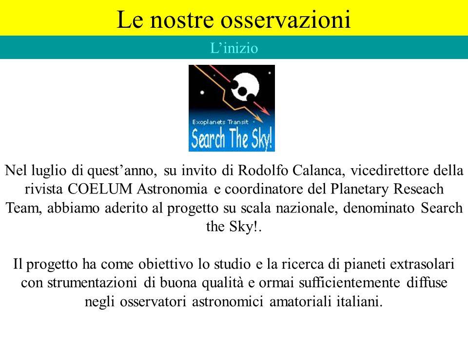 Nel luglio di questanno, su invito di Rodolfo Calanca, vicedirettore della rivista COELUM Astronomia e coordinatore del Planetary Reseach Team, abbiam