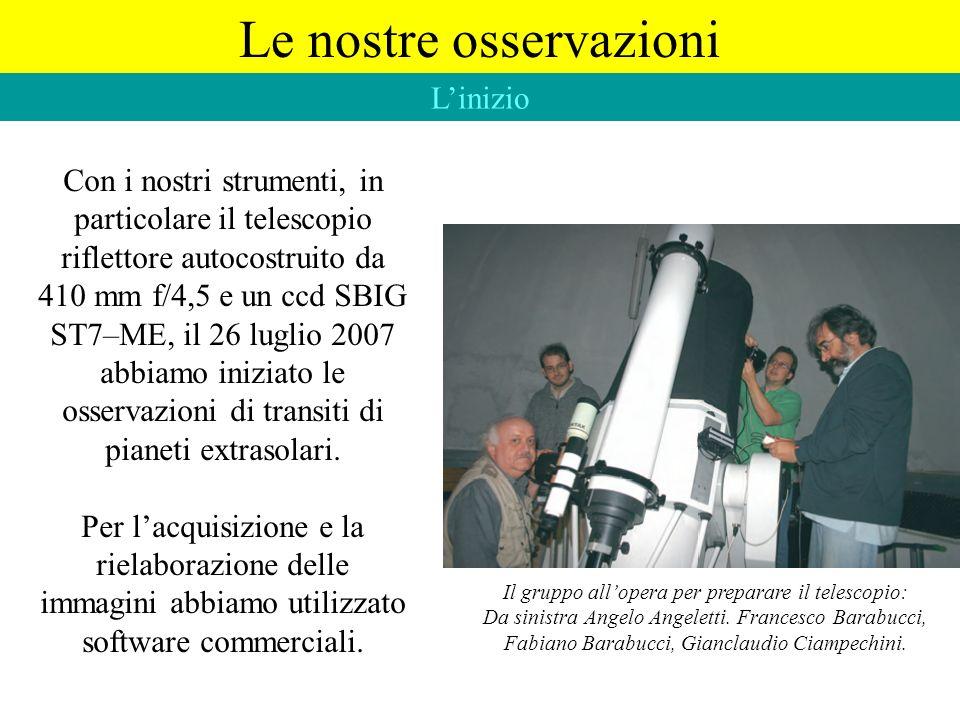 Con i nostri strumenti, in particolare il telescopio riflettore autocostruito da 410 mm f/4,5 e un ccd SBIG ST7–ME, il 26 luglio 2007 abbiamo iniziato