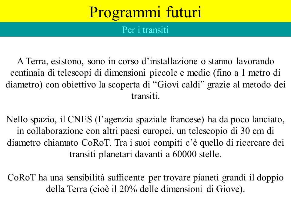Programmi futuri Per i transiti A Terra, esistono, sono in corso dinstallazione o stanno lavorando centinaia di telescopi di dimensioni piccole e medi
