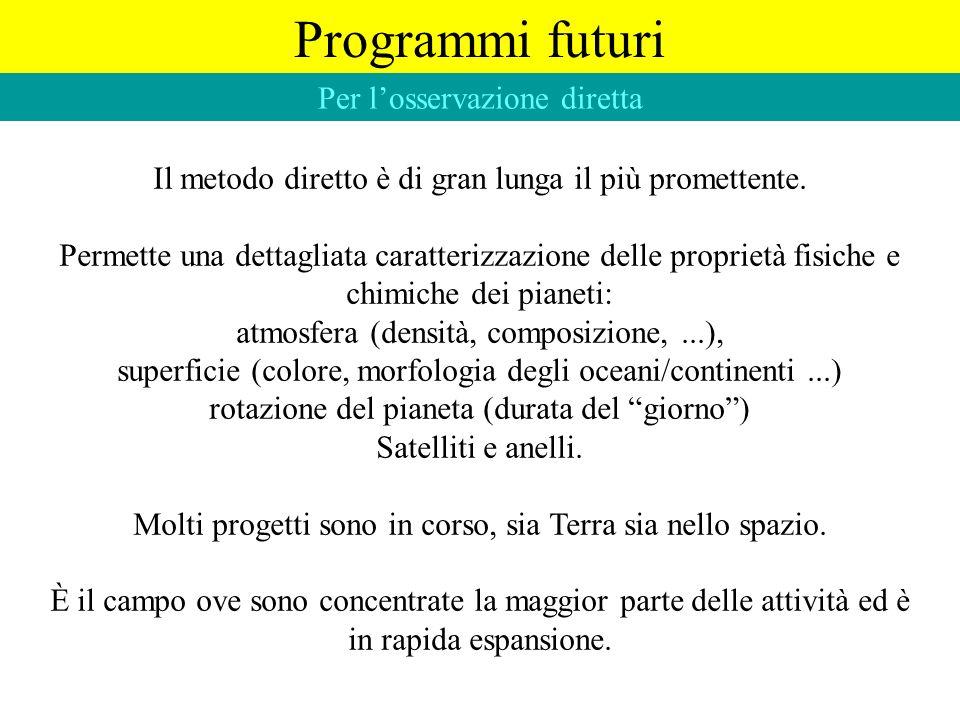 Programmi futuri Per losservazione diretta Il metodo diretto è di gran lunga il più promettente. Permette una dettagliata caratterizzazione delle prop