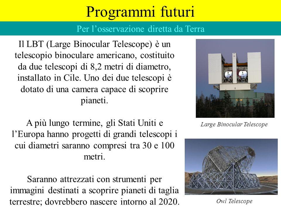 Programmi futuri Per losservazione diretta da Terra Il LBT (Large Binocular Telescope) è un telescopio binoculare americano, costituito da due telesco