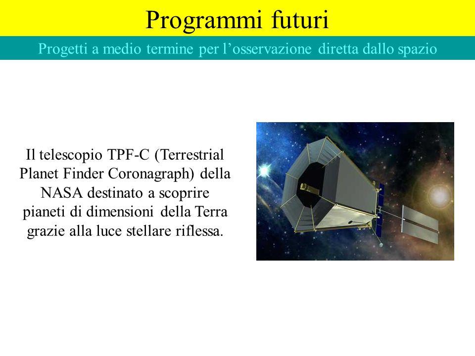 Programmi futuri Progetti a medio termine per losservazione diretta dallo spazio Il telescopio TPF-C (Terrestrial Planet Finder Coronagraph) della NAS