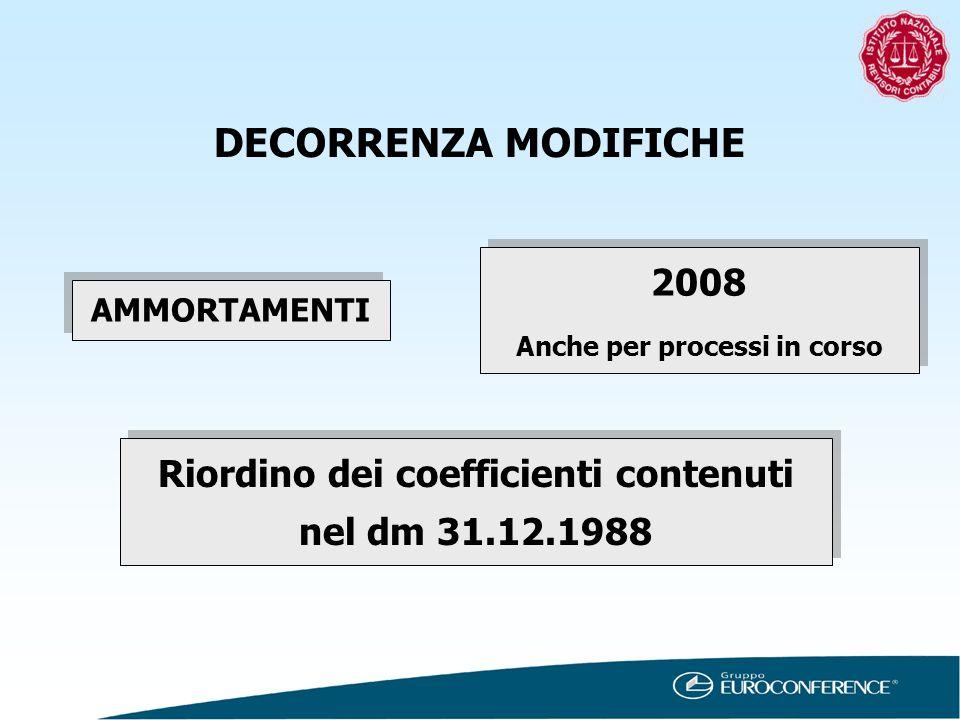 DECORRENZA MODIFICHE AMMORTAMENTI 2008 Anche per processi in corso 2008 Anche per processi in corso Riordino dei coefficienti contenuti nel dm 31.12.1