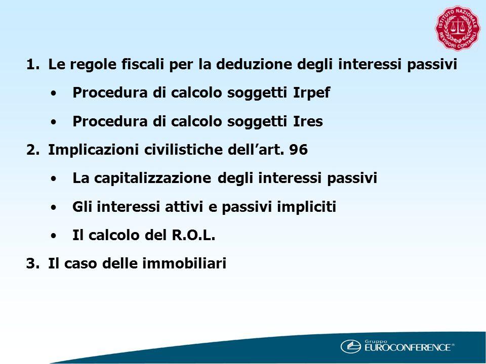 1.Le regole fiscali per la deduzione degli interessi passivi Procedura di calcolo soggetti Irpef Procedura di calcolo soggetti Ires 2.Implicazioni civ