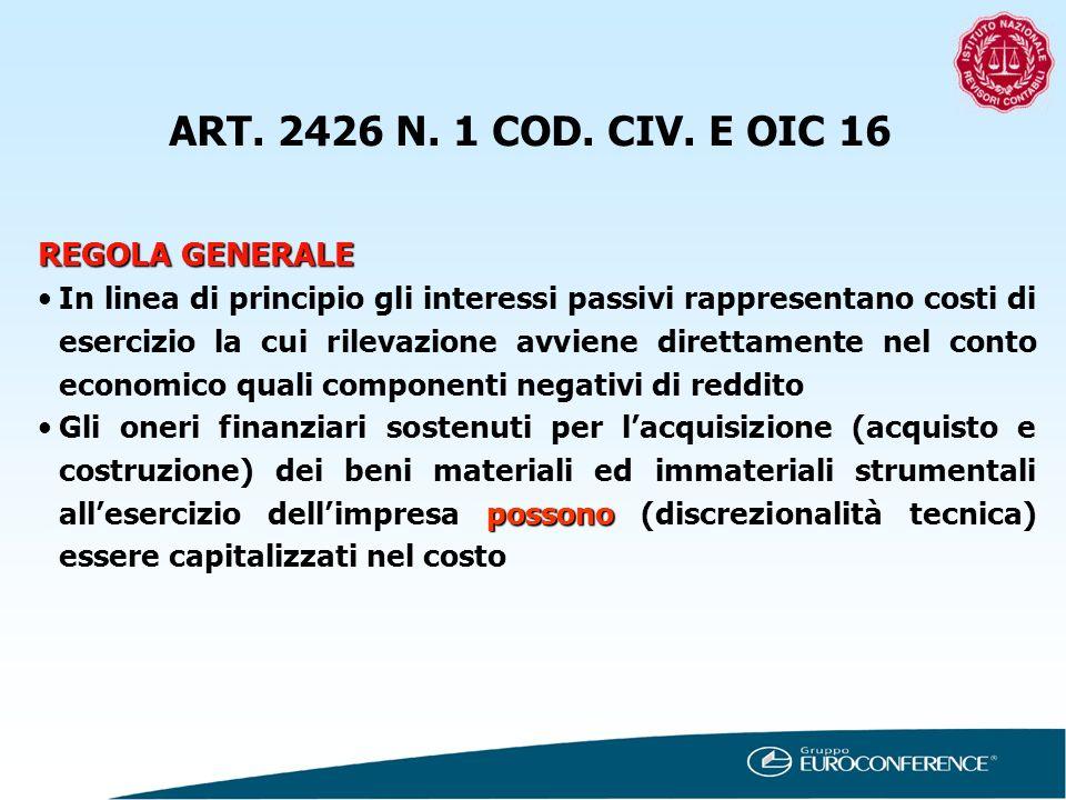 ART. 2426 N. 1 COD. CIV. E OIC 16 REGOLA GENERALE In linea di principio gli interessi passivi rappresentano costi di esercizio la cui rilevazione avvi