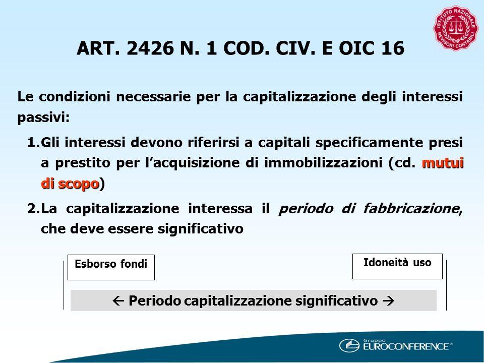 ART. 2426 N. 1 COD. CIV. E OIC 16 Le condizioni necessarie per la capitalizzazione degli interessi passivi: mutui di scopo 1.Gli interessi devono rife